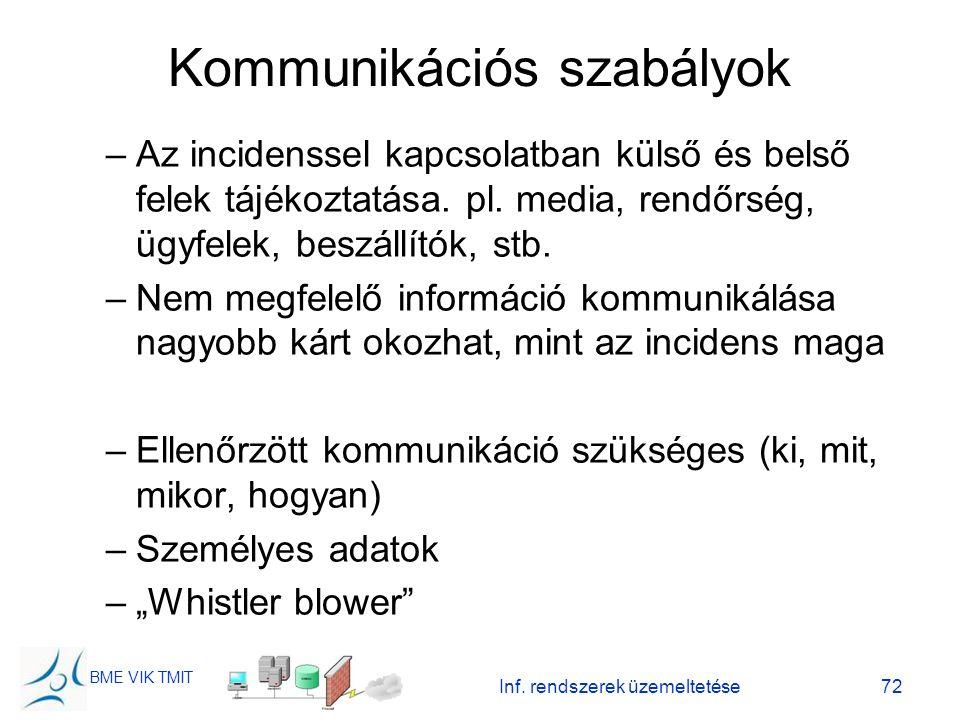 BME VIK TMIT Inf. rendszerek üzemeltetése72 Kommunikációs szabályok –Az incidenssel kapcsolatban külső és belső felek tájékoztatása. pl. media, rendőr