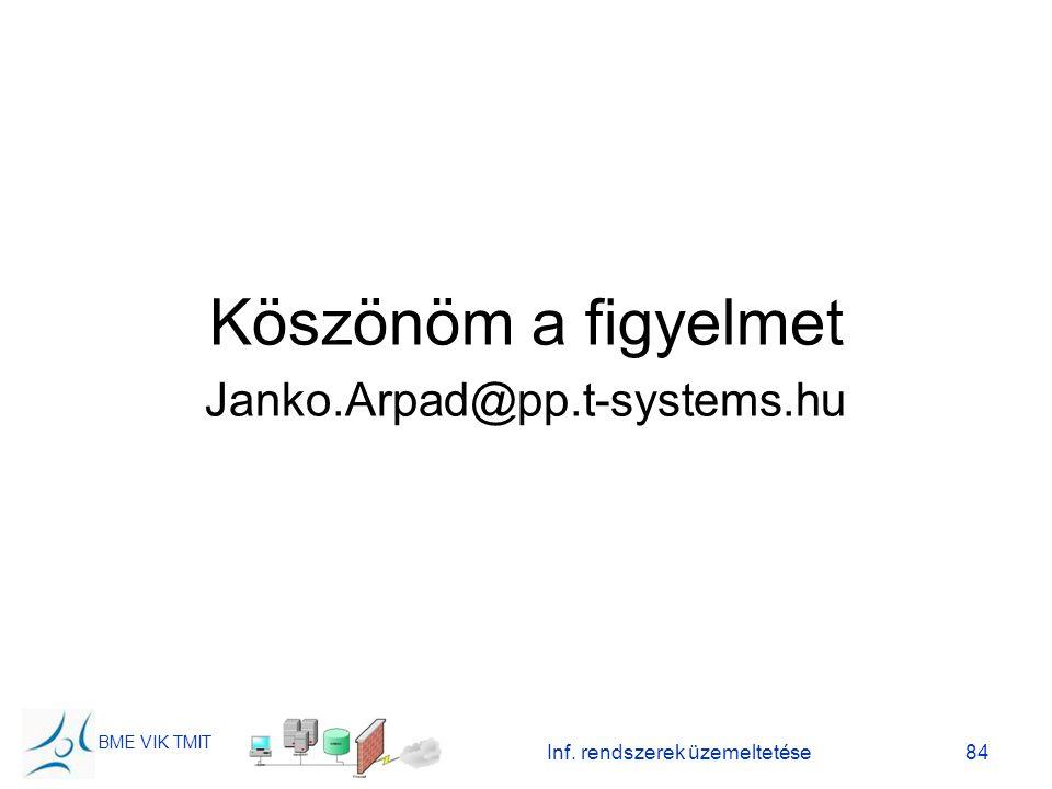 BME VIK TMIT Inf. rendszerek üzemeltetése84 Köszönöm a figyelmet Janko.Arpad@pp.t-systems.hu