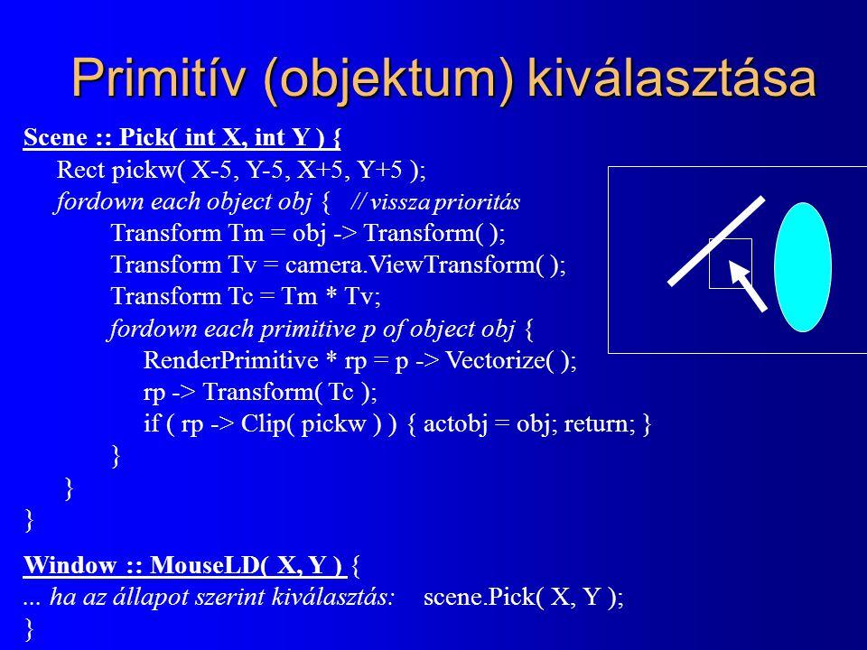 Primitív (objektum) kiválasztása Scene :: Pick( int X, int Y ) { Rect pickw( X-5, Y-5, X+5, Y+5 ); fordown each object obj { // vissza prioritás Trans
