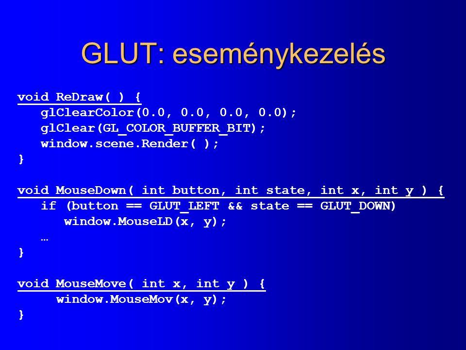 GLUT: eseménykezelés void ReDraw( ) { glClearColor(0.0, 0.0, 0.0, 0.0); glClear(GL_COLOR_BUFFER_BIT); window.scene.Render( ); } void MouseDown( int bu
