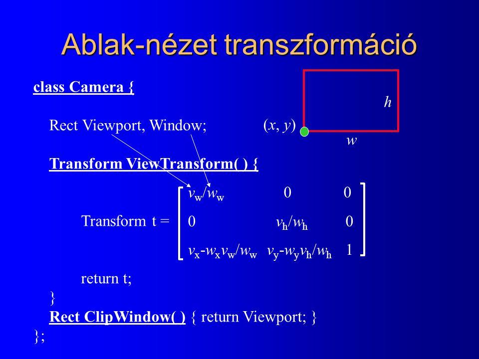 Ablak-nézet transzformáció class Camera { Rect Viewport, Window; Transform ViewTransform( ) { Transform t = return t; } Rect ClipWindow( ) { return Viewport; } }; (x, y)(x, y) w h v w /w w 0 0  v h /w h 0 v x -w x v w /w w v y -w y v h /w h 1