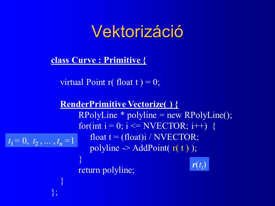 Vektorizáció class Curve : Primitive { virtual Point r( float t ) = 0; RenderPrimitive Vectorize( ) { RPolyLine * polyline = new RPolyLine(); for(int i = 0; i <= NVECTOR; i++) { float t = (float)i / NVECTOR; polyline -> AddPoint( r( t ) ); } return polyline; } }; r(ti)r(ti) t 1 = 0, t 2,..., t n =1