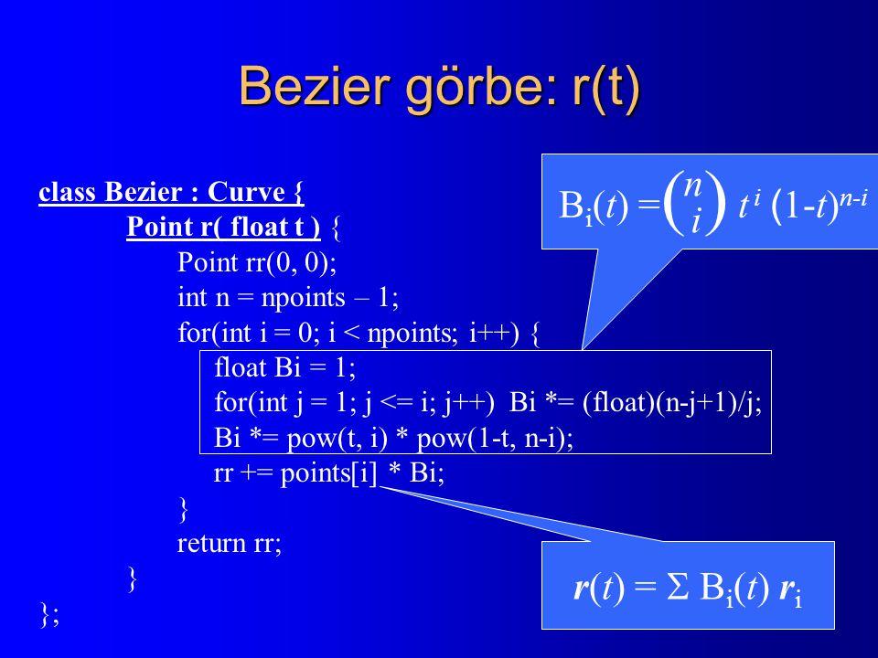 RenderPrimitive class RenderPrimitive { Point * points; Colorcolor; void Transform( Transform T ) { for each point i do points[i].Transform( T ); } virtual Bool Clip( Rect cliprect ) = 0; virtual void Draw( ) = 0; }; class RPolyLine : public RenderPrimitive { Bool Clip( Rect cliprect ) { Cohen-Sutherland vágás } void Draw( ) { Szakaszrajzoló algoritmus: PutPixel(X, Y, color) } }; class RPolygon : public RenderPrimitive { Bool Clip( Rect cliprect ) { Sutherland-Hodgeman vágás } void Draw( ) { Területkitöltő algoritmus: PutPixel(X, Y, color) } };