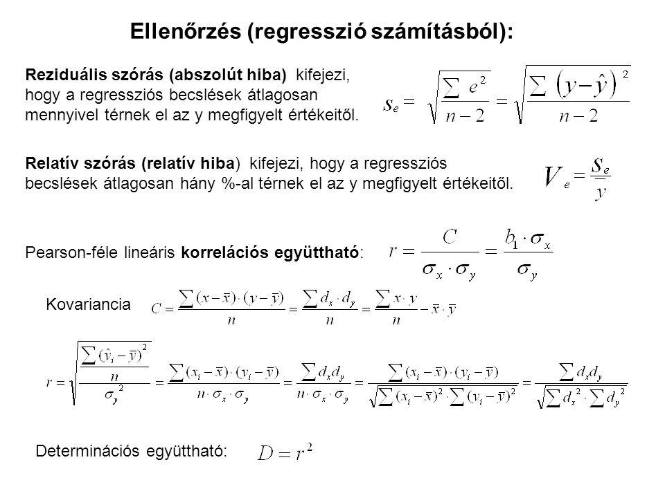 Reziduális szórás (abszolút hiba) kifejezi, hogy a regressziós becslések átlagosan mennyivel térnek el az y megfigyelt értékeitől.