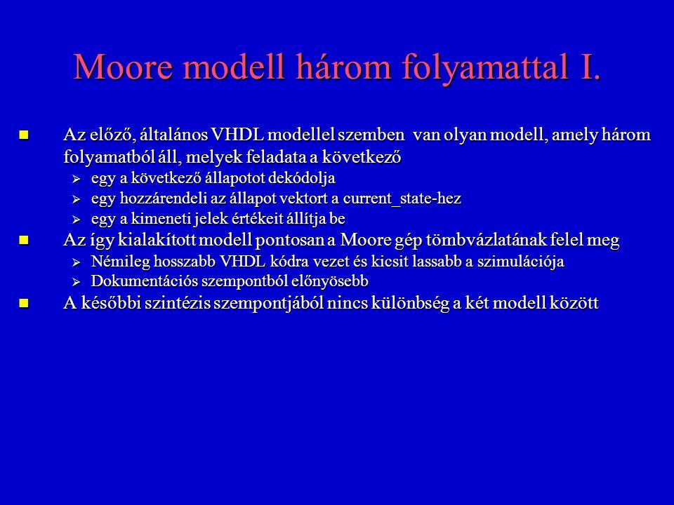 Moore modell három folyamattal I. Az előző, általános VHDL modellel szemben van olyan modell, amely három folyamatból áll, melyek feladata a következő