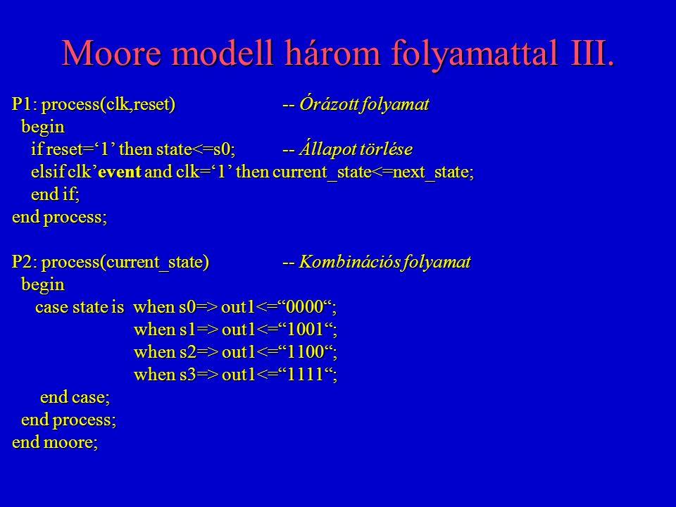 Moore modell három folyamattal III. P1: process(clk,reset)-- Órázott folyamat begin begin if reset='1' then state<=s0;-- Állapot törlése if reset='1'