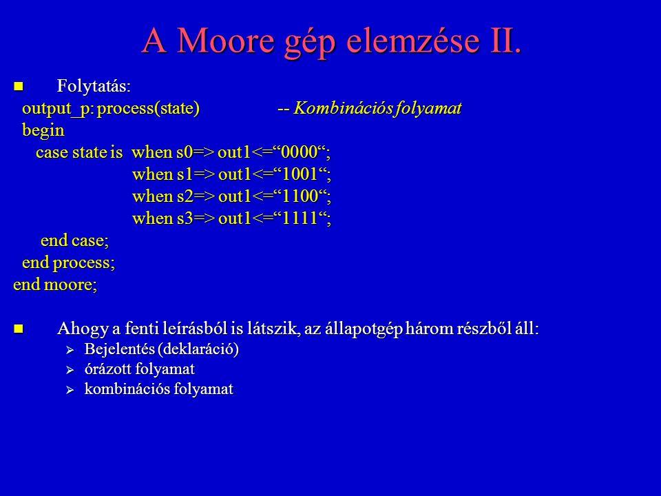 A Moore gép elemzése II. Folytatás: Folytatás: output_p: process(state)-- Kombinációs folyamat output_p: process(state)-- Kombinációs folyamat begin b