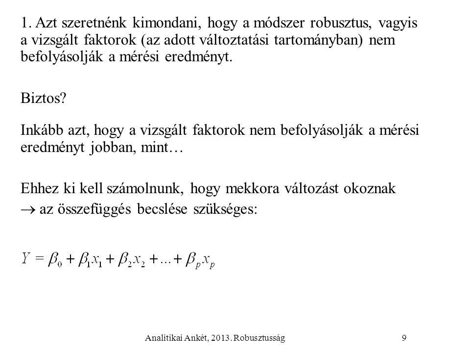 Analitikai Ankét, 2013. Robusztusság9 1. Azt szeretnénk kimondani, hogy a módszer robusztus, vagyis a vizsgált faktorok (az adott változtatási tartomá