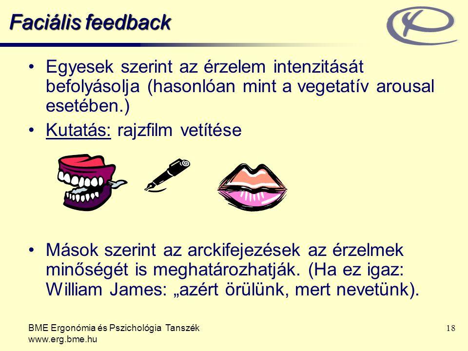 BME Ergonómia és Pszichológia Tanszék www.erg.bme.hu 18 Faciális feedback Egyesek szerint az érzelem intenzitását befolyásolja (hasonlóan mint a vegetatív arousal esetében.) Kutatás: rajzfilm vetítése Mások szerint az arckifejezések az érzelmek minőségét is meghatározhatják.