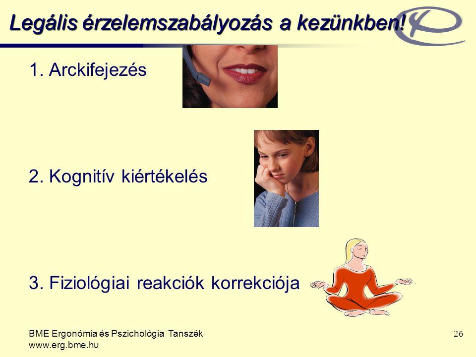 BME Ergonómia és Pszichológia Tanszék www.erg.bme.hu 26 Legális érzelemszabályozás a kezünkben.