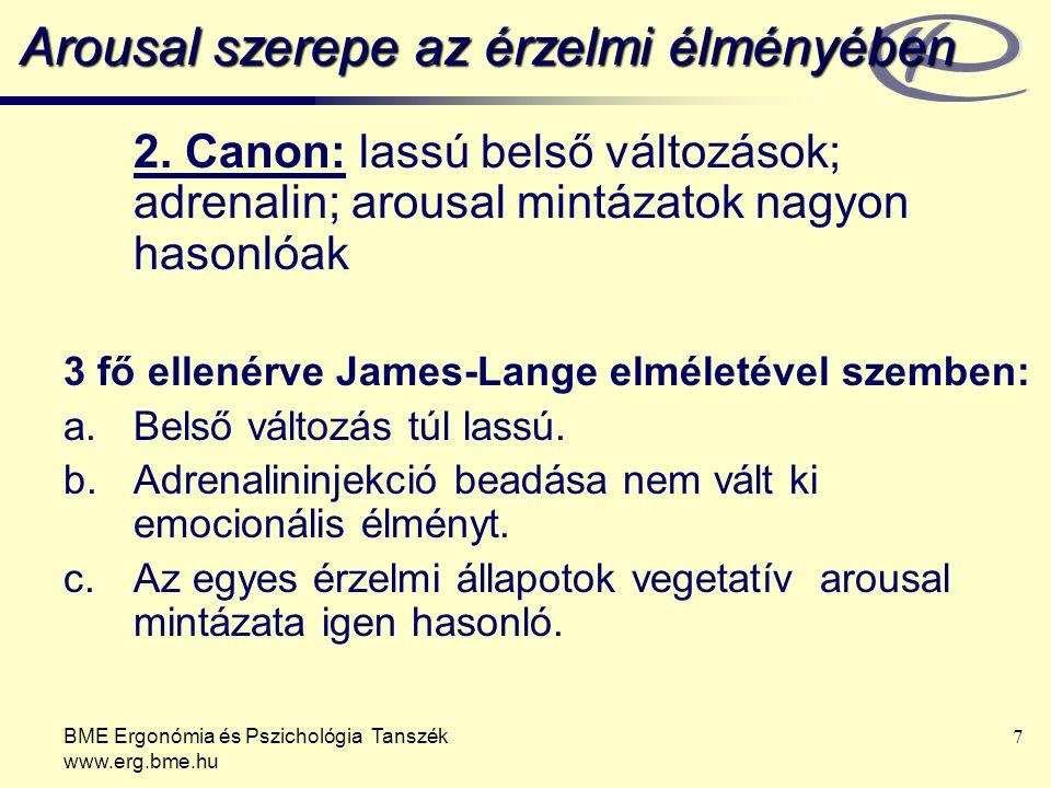 BME Ergonómia és Pszichológia Tanszék www.erg.bme.hu 7 Arousal szerepe az érzelmi élményében 2.