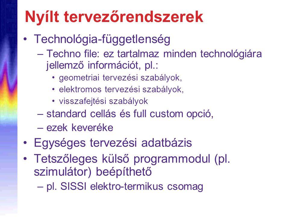 Nyílt tervezőrendszerek Technológia-függetlenség –Techno file: ez tartalmaz minden technológiára jellemző információt, pl.: geometriai tervezési szabályok, elektromos tervezési szabályok, visszafejtési szabályok –standard cellás és full custom opció, –ezek keveréke Egységes tervezési adatbázis Tetszőleges külső programmodul (pl.
