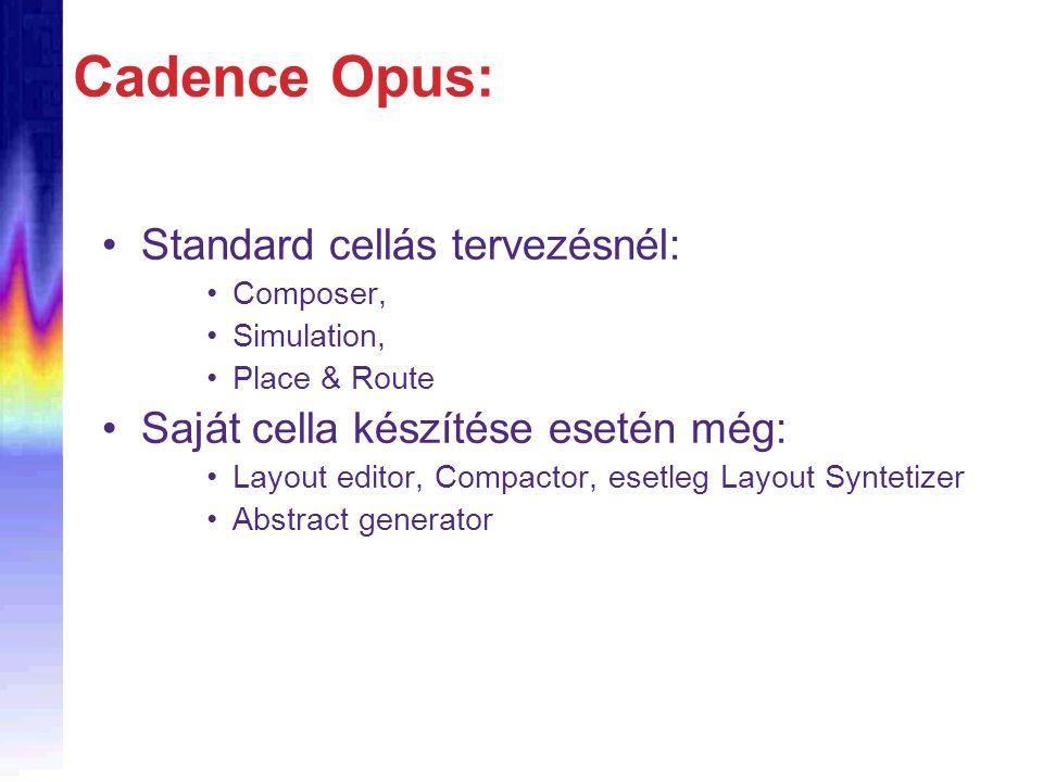Cadence Opus: Standard cellás tervezésnél: Composer, Simulation, Place & Route Saját cella készítése esetén még: Layout editor, Compactor, esetleg Layout Syntetizer Abstract generator