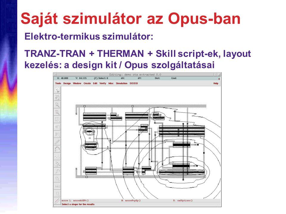 Saját szimulátor az Opus-ban Elektro-termikus szimulátor: TRANZ-TRAN + THERMAN + Skill script-ek, layout kezelés: a design kit / Opus szolgáltatásai