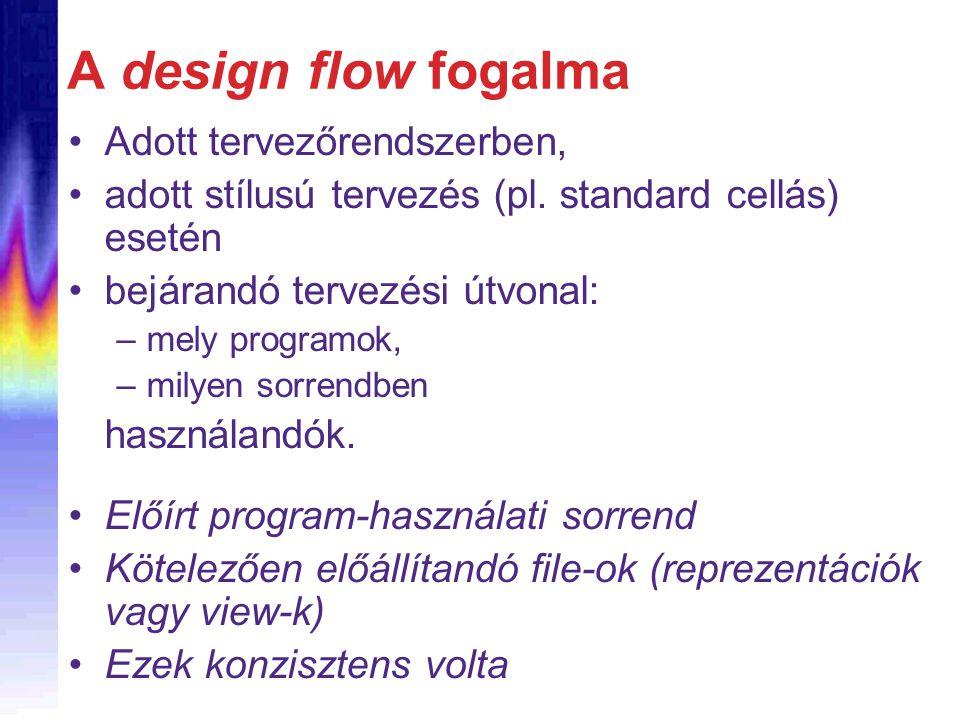 A design flow fogalma Adott tervezőrendszerben, adott stílusú tervezés (pl. standard cellás) esetén bejárandó tervezési útvonal: –mely programok, –mil