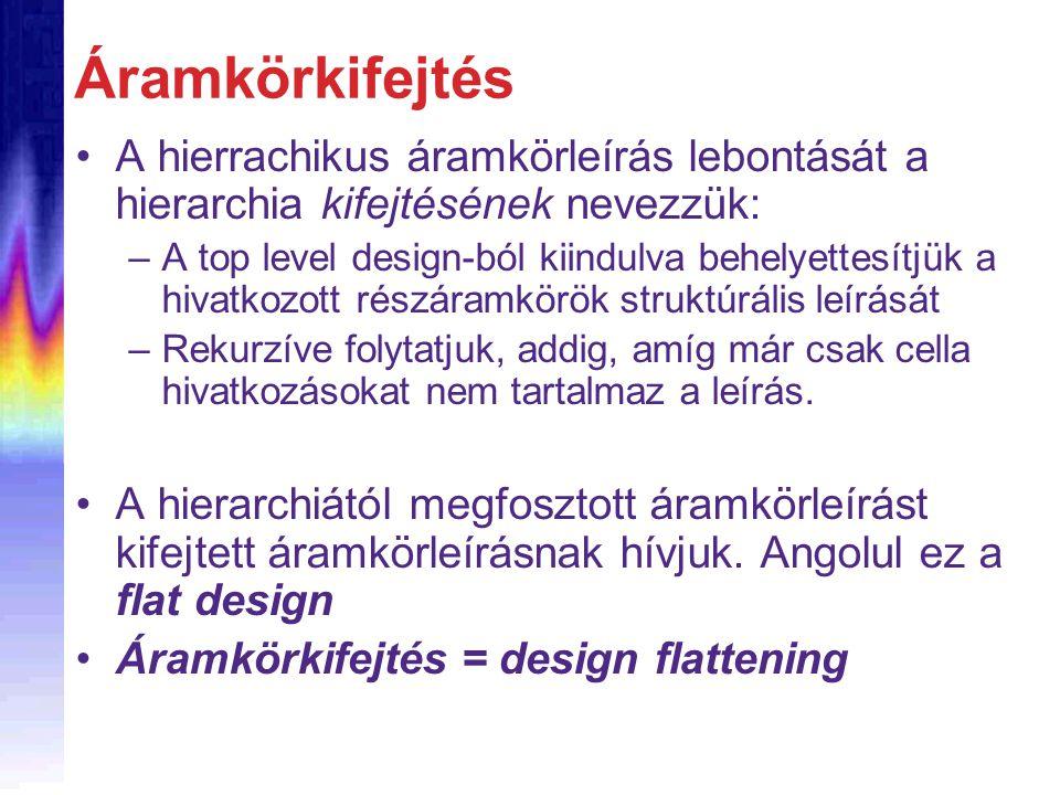 Áramkörkifejtés A hierrachikus áramkörleírás lebontását a hierarchia kifejtésének nevezzük: –A top level design-ból kiindulva behelyettesítjük a hivatkozott részáramkörök struktúrális leírását –Rekurzíve folytatjuk, addig, amíg már csak cella hivatkozásokat nem tartalmaz a leírás.