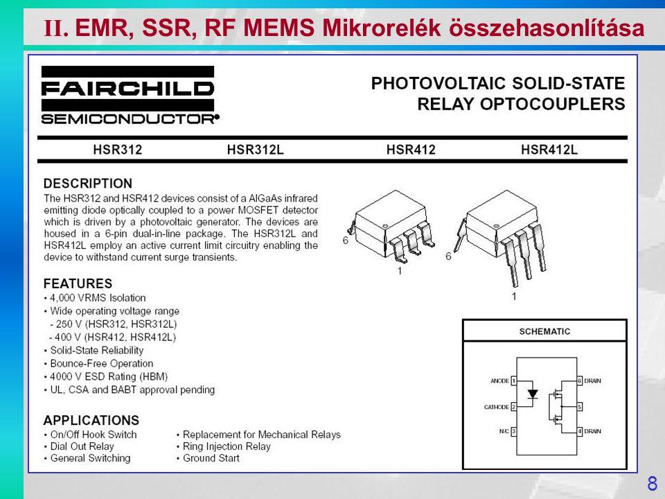 A mikromechanika alkalmazásával lehetségessé vált EMR miniatürizálása A miniatürizálással a rendszer működéséhez szükséges idő ( kapcsoló nyitása, zárása ) a rendszer lineáris méreteivel arányosan csökken A hőmérséklet hatására bekövetkező méretváltozások, mechanikai rezgések zavaró hatásai a méretcsökkenés következtében egyre kisebb jelentőségű válnak Si kitűnő mechanikai tulajdonságok: Nagy húzószilárdság, nyomószilárdság Ismételt igénybevétel esetén nincs szerkezeti illetve szilárdsági változás, azaz rugalmatlan alakváltozás és fáradás nem lép fel II.