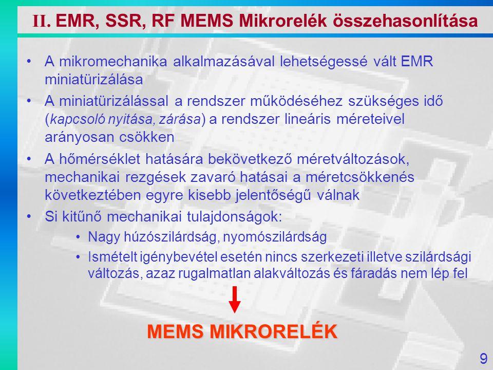Mérési eredmények az adott architektúra mellett [1] 20V … 100V behúzó feszültség szükséges a nagy visszatérítő erő miatt De 50nA  1.0  W (Nagyon alacsony fogyasztás) Kontakt ellenállás 10  …80  Kapcsolási idő 2.6  s [1] Ignaz Schiele, Surface-micromachined electrostatic microrelay , 1998 Sensors and Actuators 345-354 V.