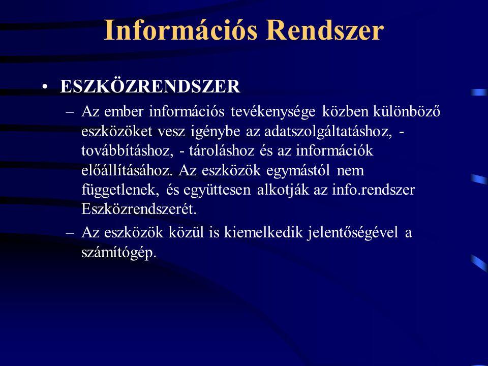 Információs Rendszer ESZKÖZRENDSZER –Az ember információs tevékenysége közben különböző eszközöket vesz igénybe az adatszolgáltatáshoz, - továbbításhoz, - tároláshoz és az információk előállításához.