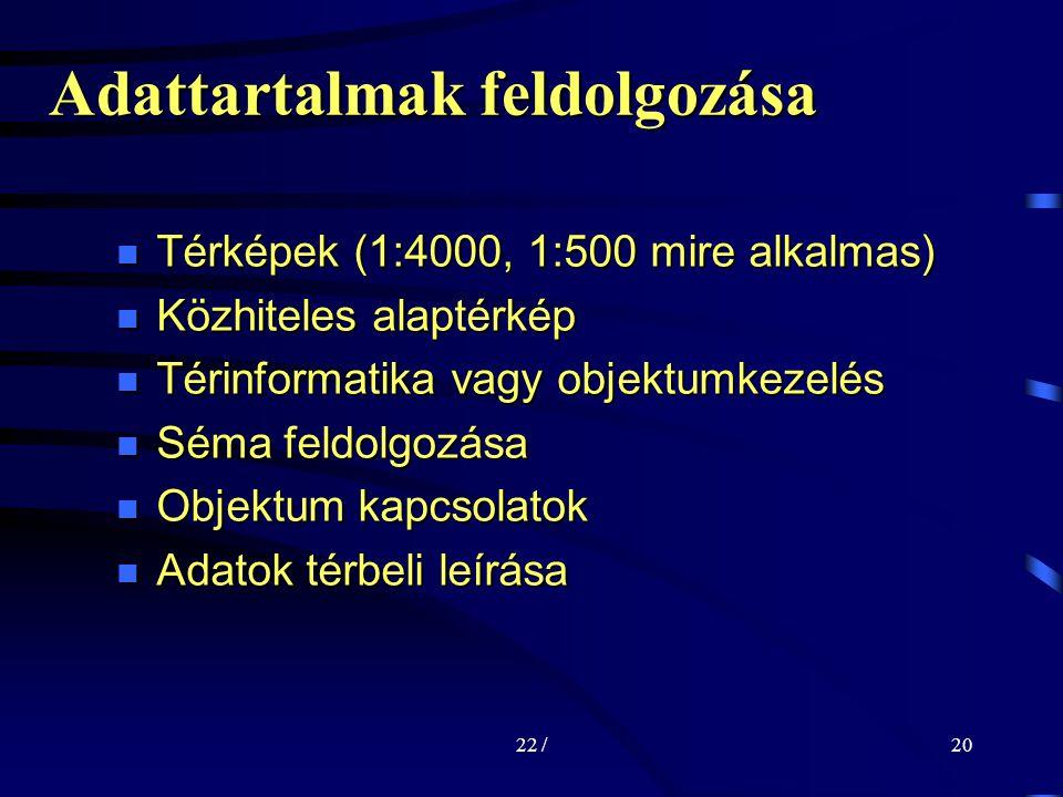 22 /20 Térképek (1:4000, 1:500 mire alkalmas) Térképek (1:4000, 1:500 mire alkalmas) Közhiteles alaptérkép Közhiteles alaptérkép Térinformatika vagy objektumkezelés Térinformatika vagy objektumkezelés Séma feldolgozása Séma feldolgozása Objektum kapcsolatok Objektum kapcsolatok Adatok térbeli leírása Adatok térbeli leírása Adattartalmak feldolgozása