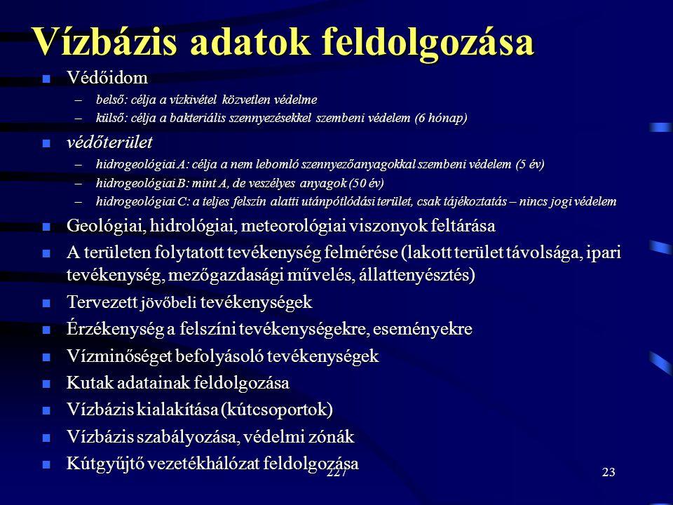 22 /23 Védőidom Védőidom –belső: célja a vízkivétel közvetlen védelme –külső: célja a bakteriális szennyezésekkel szembeni védelem (6 hónap) védőterület védőterület –hidrogeológiai A: célja a nem lebomló szennyezőanyagokkal szembeni védelem (5 év) –hidrogeológiai B: mint A, de veszélyes anyagok (50 év) –hidrogeológiai C: a teljes felszín alatti utánpótlódási terület, csak tájékoztatás – nincs jogi védelem Geológiai, hidrológiai, meteorológiai viszonyok feltárása Geológiai, hidrológiai, meteorológiai viszonyok feltárása A területen folytatott tevékenység felmérése (lakott terület távolsága, ipari tevékenység, mezőgazdasági művelés, állattenyésztés) A területen folytatott tevékenység felmérése (lakott terület távolsága, ipari tevékenység, mezőgazdasági művelés, állattenyésztés) Tervezett jövőbeli tevékenységek Tervezett jövőbeli tevékenységek Érzékenység a felszíni tevékenységekre, eseményekre Érzékenység a felszíni tevékenységekre, eseményekre Vízminőséget befolyásoló tevékenységek Vízminőséget befolyásoló tevékenységek Kutak adatainak feldolgozása Kutak adatainak feldolgozása Vízbázis kialakítása (kútcsoportok) Vízbázis kialakítása (kútcsoportok) Vízbázis szabályozása, védelmi zónák Vízbázis szabályozása, védelmi zónák Kútgyűjtő vezetékhálózat feldolgozása Kútgyűjtő vezetékhálózat feldolgozása Vízbázis adatok feldolgozása
