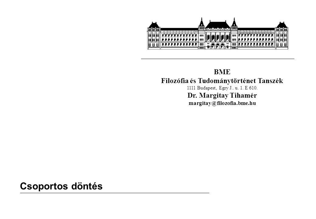 BME Filozófia és Tudománytörténet Tanszék 1111 Budapest, Egry J.. u. 1. E 610. Dr. Margitay Tihamér margitay@filozofia.bme.hu Csoportos döntés