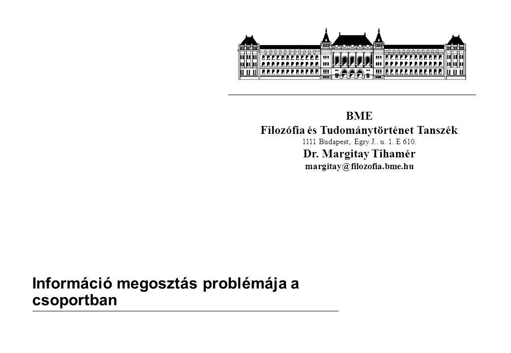 BME Filozófia és Tudománytörténet Tanszék 1111 Budapest, Egry J.. u. 1. E 610. Dr. Margitay Tihamér margitay@filozofia.bme.hu Információ megosztás pro