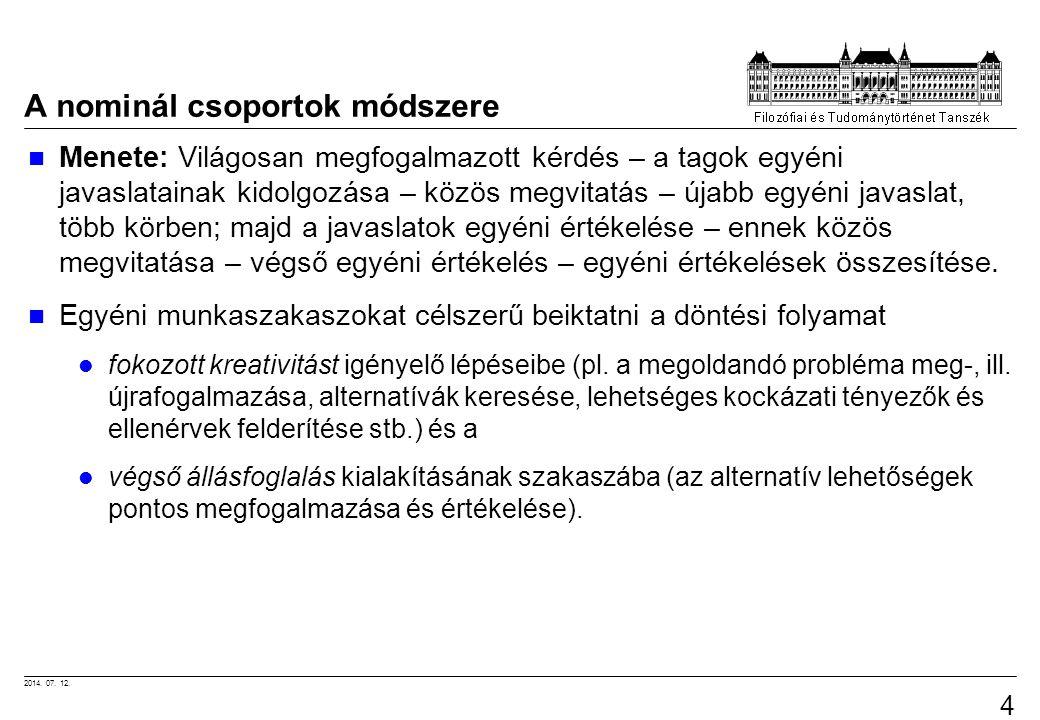 2014. 07. 12. 49 A nominál csoportok módszere Menete: Világosan megfogalmazott kérdés – a tagok egyéni javaslatainak kidolgozása – közös megvitatás –