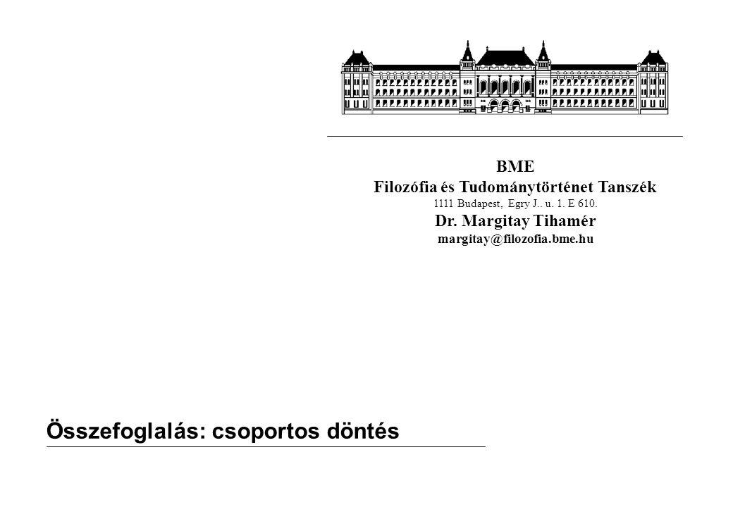 BME Filozófia és Tudománytörténet Tanszék 1111 Budapest, Egry J.. u. 1. E 610. Dr. Margitay Tihamér margitay@filozofia.bme.hu Összefoglalás: csoportos