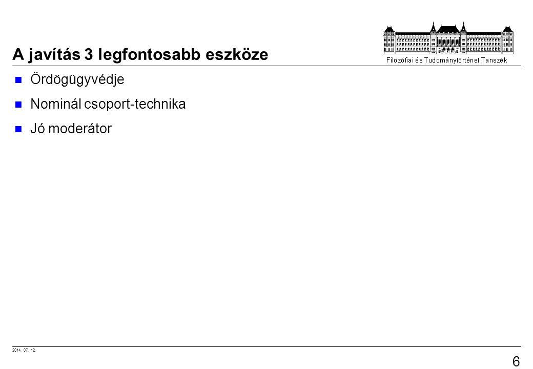 2014. 07. 12. 62 A javítás 3 legfontosabb eszköze Ördögügyvédje Nominál csoport-technika Jó moderátor