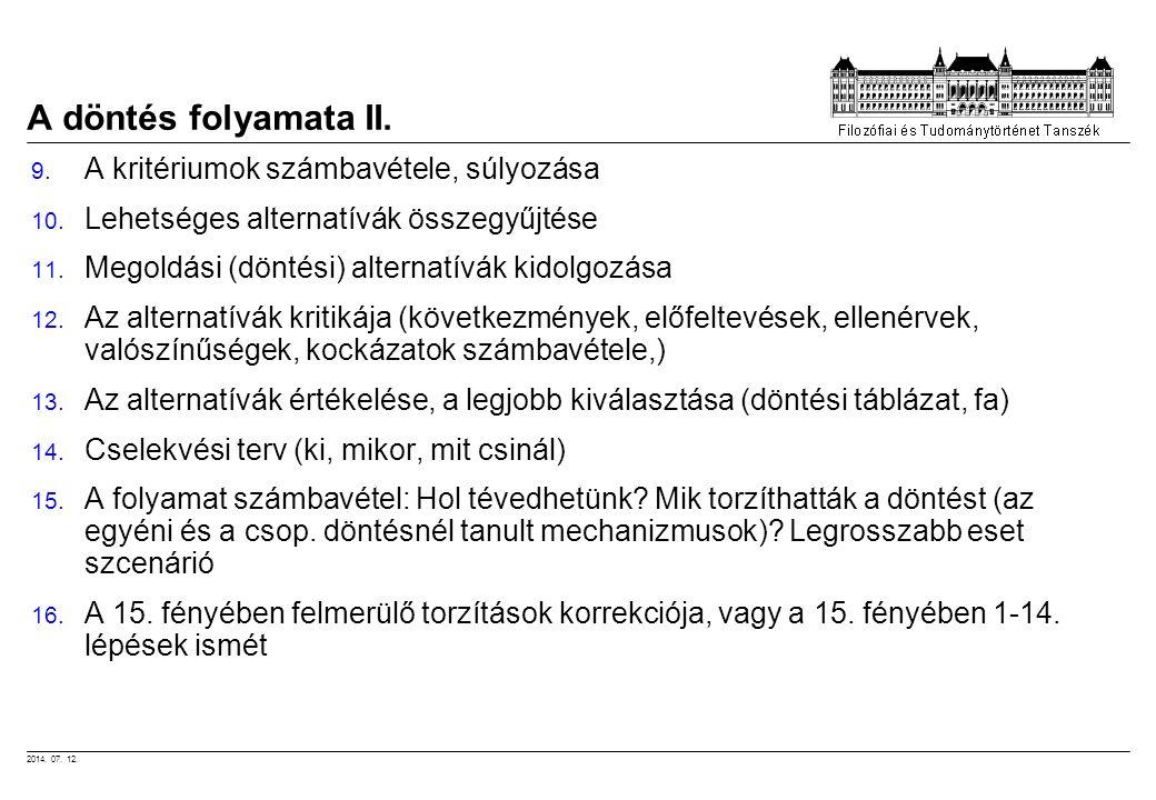 2014. 07. 12. A döntés folyamata II. 9. A kritériumok számbavétele, súlyozása 10. Lehetséges alternatívák összegyűjtése 11. Megoldási (döntési) altern