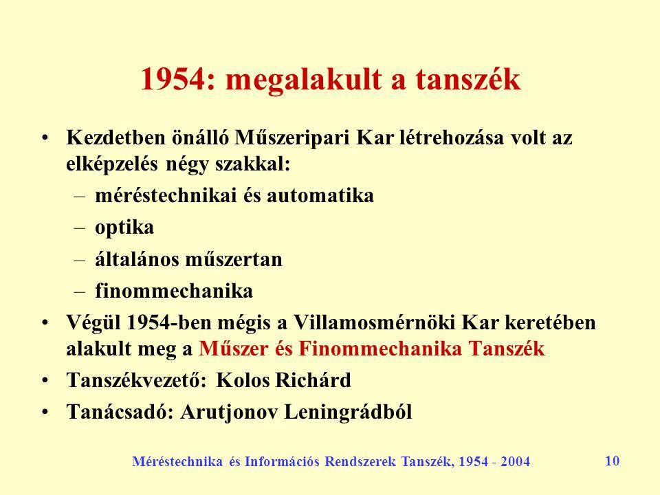 Méréstechnika és Információs Rendszerek Tanszék, 1954 - 2004 10 1954: megalakult a tanszék Kezdetben önálló Műszeripari Kar létrehozása volt az elképz