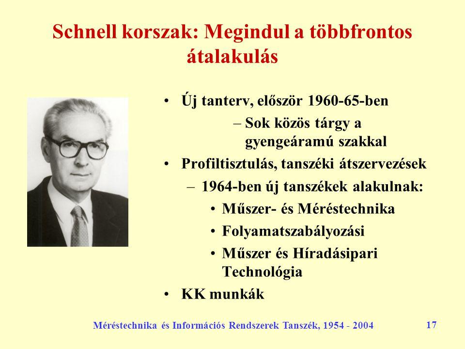 Méréstechnika és Információs Rendszerek Tanszék, 1954 - 2004 17 Schnell korszak: Megindul a többfrontos átalakulás Új tanterv, először 1960-65-ben –So