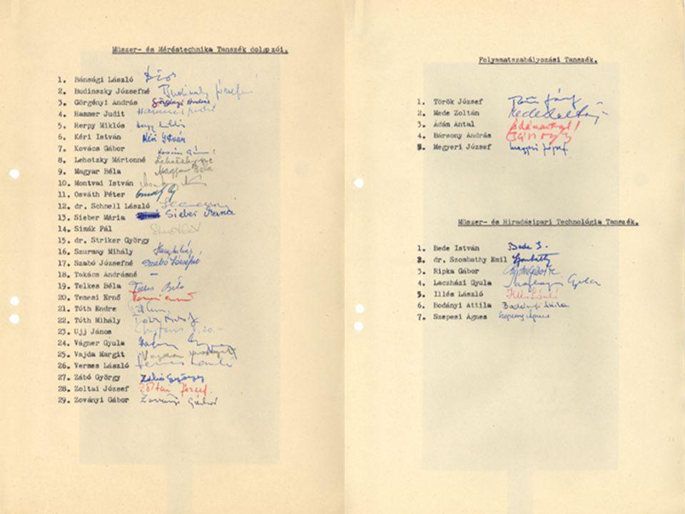 Méréstechnika és Információs Rendszerek Tanszék, 1954 - 2004 18