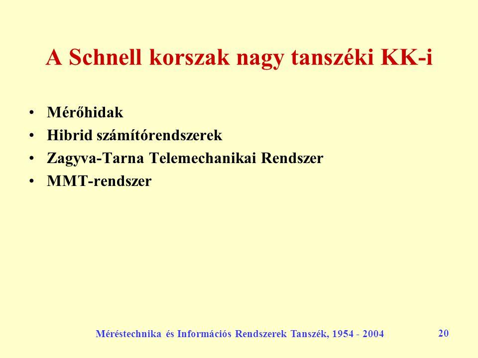 Méréstechnika és Információs Rendszerek Tanszék, 1954 - 2004 20 A Schnell korszak nagy tanszéki KK-i Mérőhidak Hibrid számítórendszerek Zagyva-Tarna T