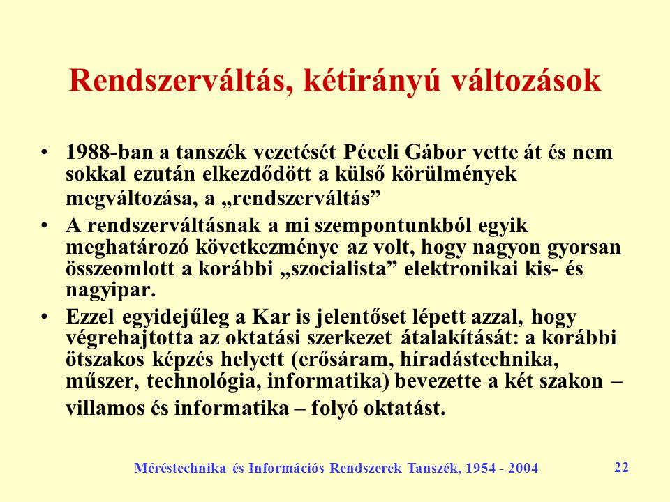 Méréstechnika és Információs Rendszerek Tanszék, 1954 - 2004 22 Rendszerváltás, kétirányú változások 1988-ban a tanszék vezetését Péceli Gábor vette á