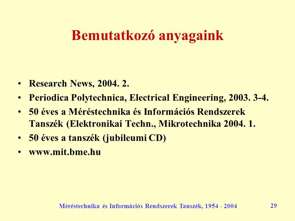 Méréstechnika és Információs Rendszerek Tanszék, 1954 - 2004 29 Bemutatkozó anyagaink Research News, 2004. 2. Periodica Polytechnica, Electrical Engin