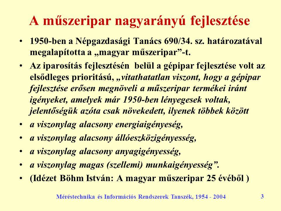 """Méréstechnika és Információs Rendszerek Tanszék, 1954 - 2004 24 Az új villamosmérnöki szak A korábbi négy szak """"távolsága az első 5 szemeszter alapján az új """"egységes villamosmérnöki szaktól: –erősáram:24 óra –híradástechnika:12 óra –műszer: 8 óra –technológia:18 óra"""