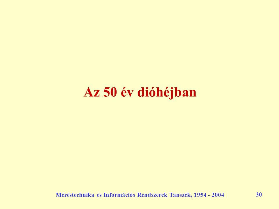 Méréstechnika és Információs Rendszerek Tanszék, 1954 - 2004 30 Az 50 év dióhéjban