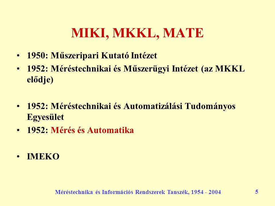 Méréstechnika és Információs Rendszerek Tanszék, 1954 - 2004 5 MIKI, MKKL, MATE 1950: Műszeripari Kutató Intézet 1952: Méréstechnikai és Műszerügyi In