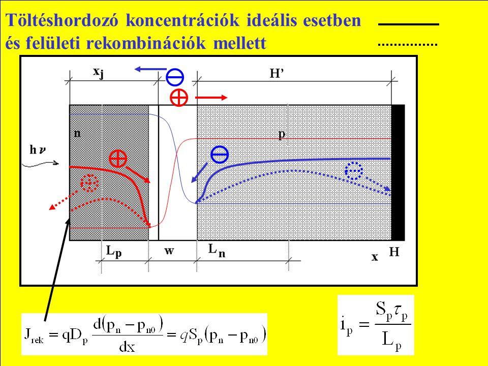 Töltéshordozó koncentrációk ideális esetben és felületi rekombinációk mellett