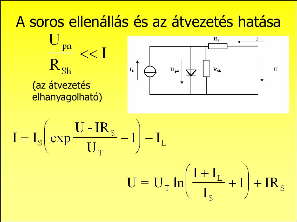 A spektrális válaszfüggvény számítása: felületi réteg Tömbi rekombináció:    