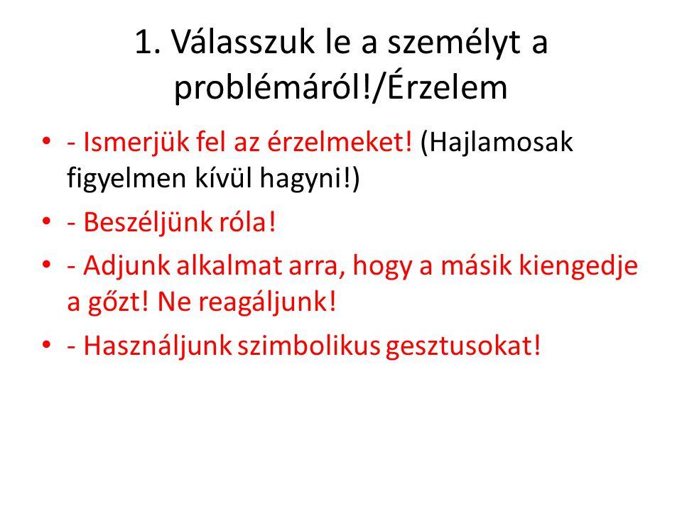 1. Válasszuk le a személyt a problémáról!/Érzelem - Ismerjük fel az érzelmeket! (Hajlamosak figyelmen kívül hagyni!) - Beszéljünk róla! - Adjunk alkal
