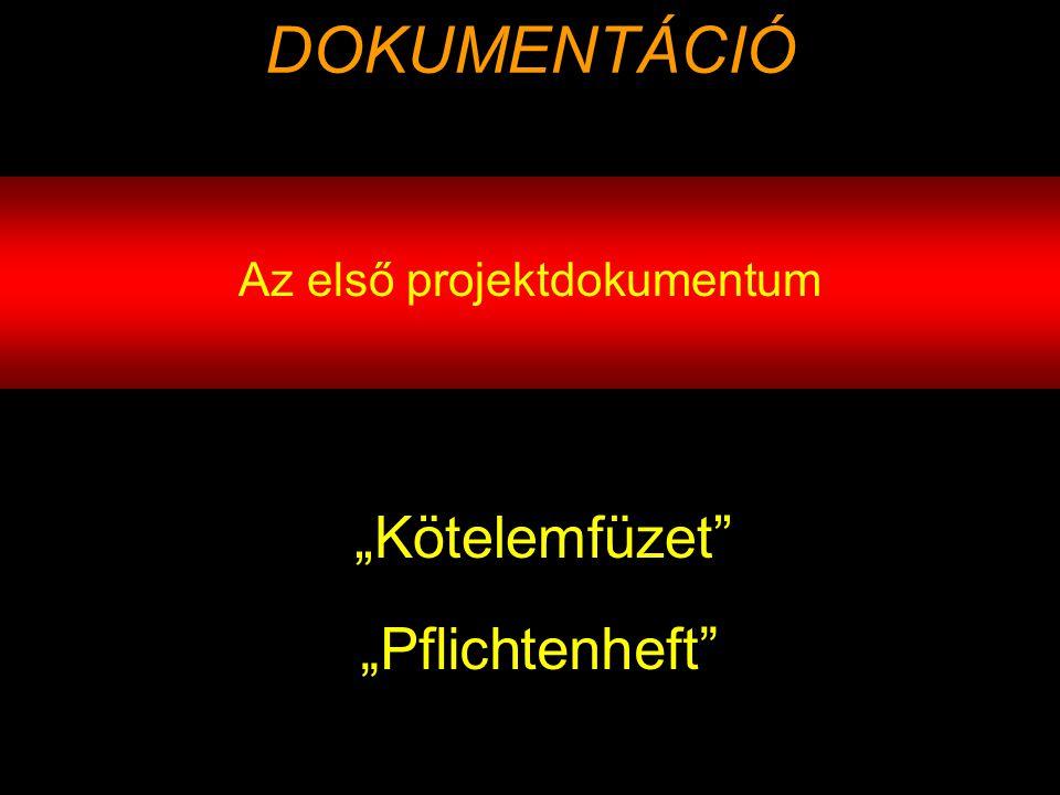 """Az első projektdokumentum DOKUMENTÁCIÓ """"Kötelemfüzet """"Pflichtenheft"""