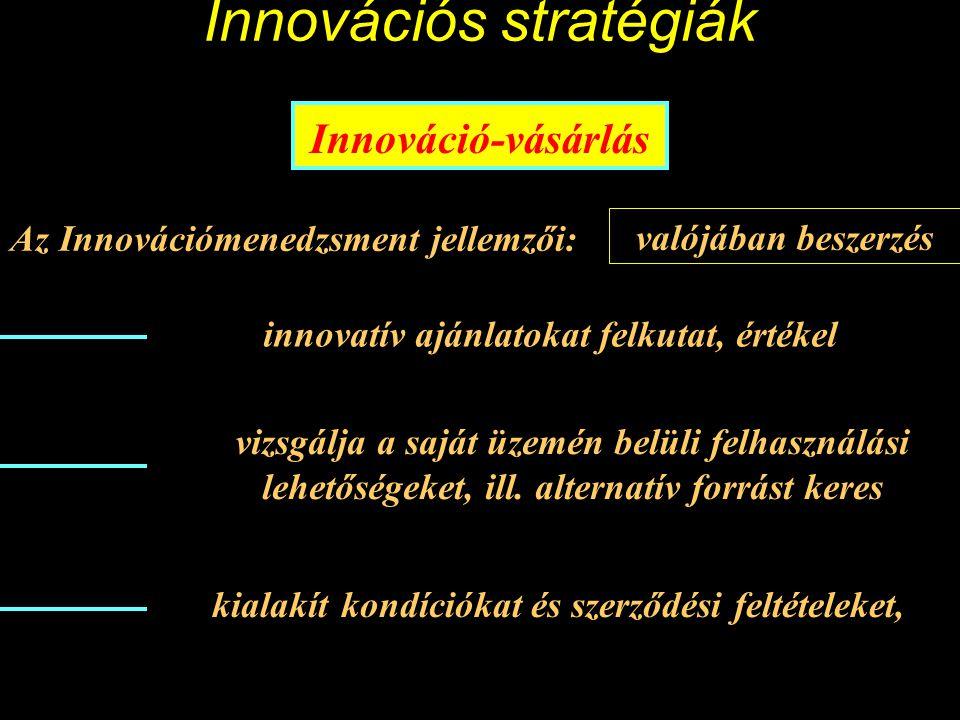 Innovációs stratégiák Innováció-vásárlás Célja: Tipikusan újszerű technológiák beszerzése A vállalat innovatív javakat vagy folyamatváltozatokat vásárol.