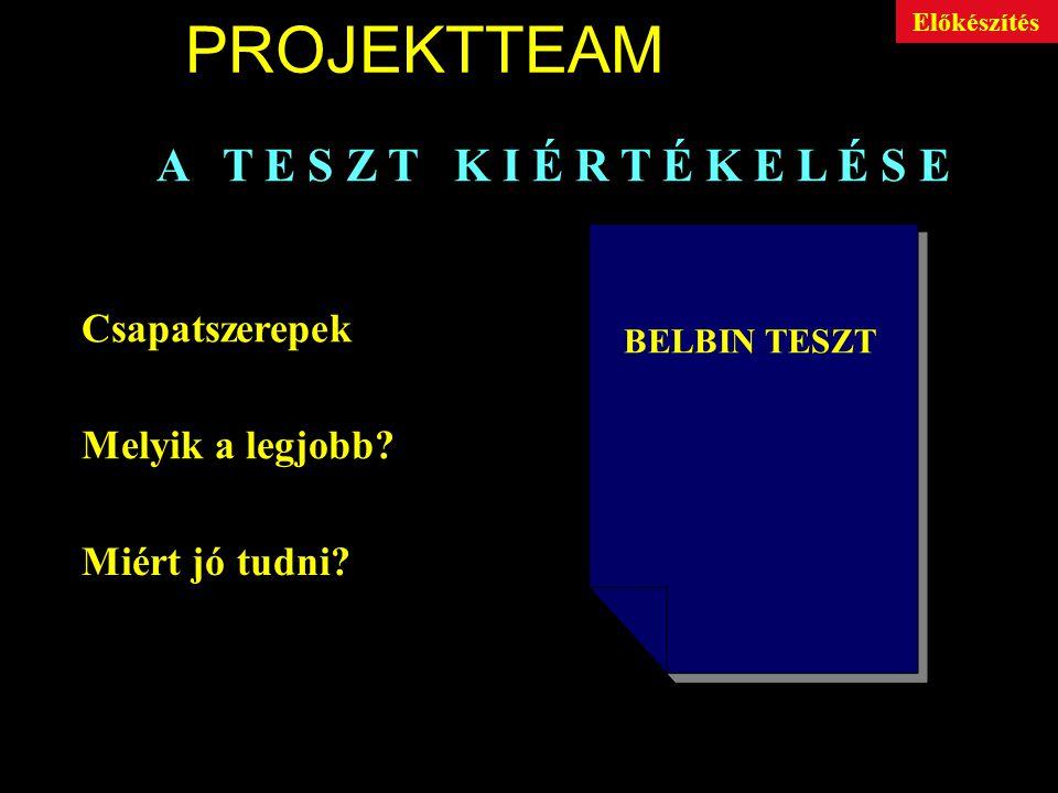 PROJEKTTEAM A T E S Z T K I T Ö L T É S E 7 állítás csoport Csoportonként 8 állítás Minősítés: 0 - 4 -ig BELBIN TESZT Előkészítés