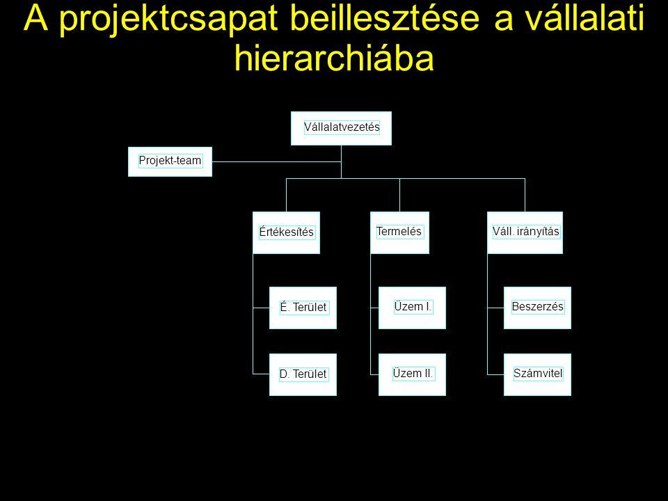 A projektcsapat beillesztése a vállalati hierarchiába Vállalatvezetés Projekt-team Értékesítés TermelésVáll.
