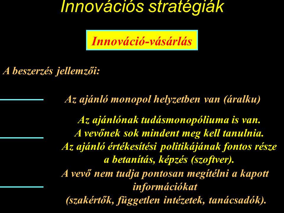 Innovációs stratégiák Innováció-vásárlás Az Innovációmenedzsment jellemzői: innovatív ajánlatokat felkutat, értékel vizsgálja a saját üzemén belüli felhasználási lehetőségeket, ill.