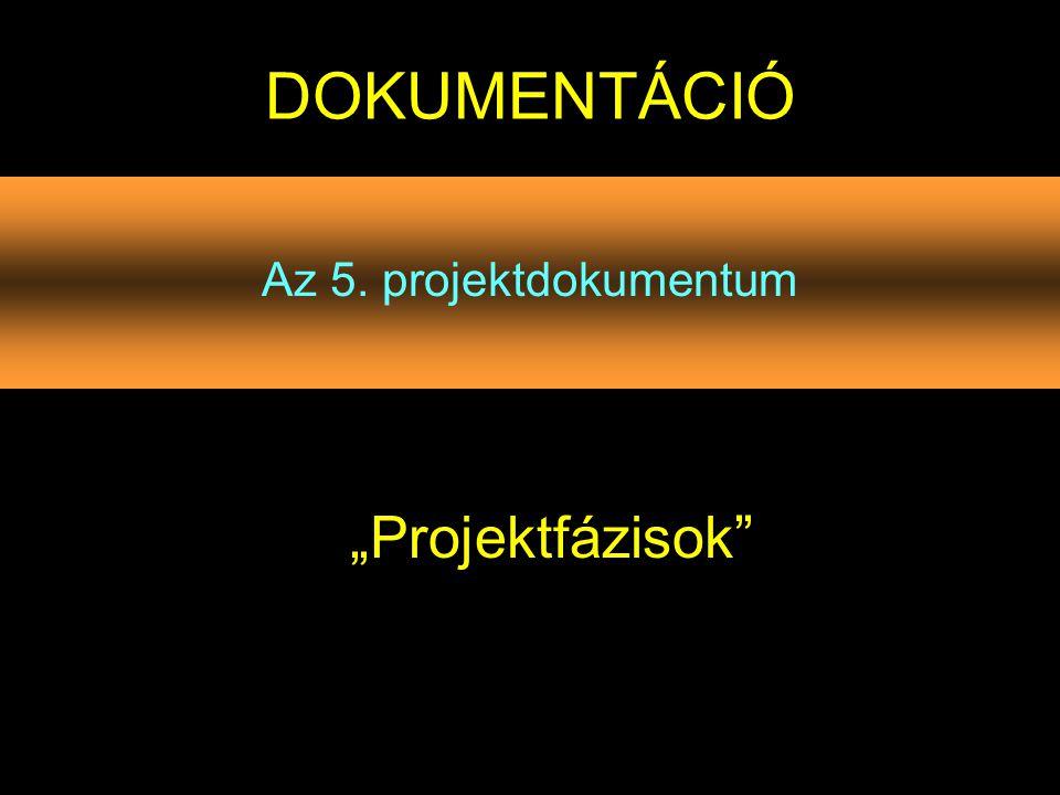 """Az 5. projektdokumentum DOKUMENTÁCIÓ """"Projektfázisok"""