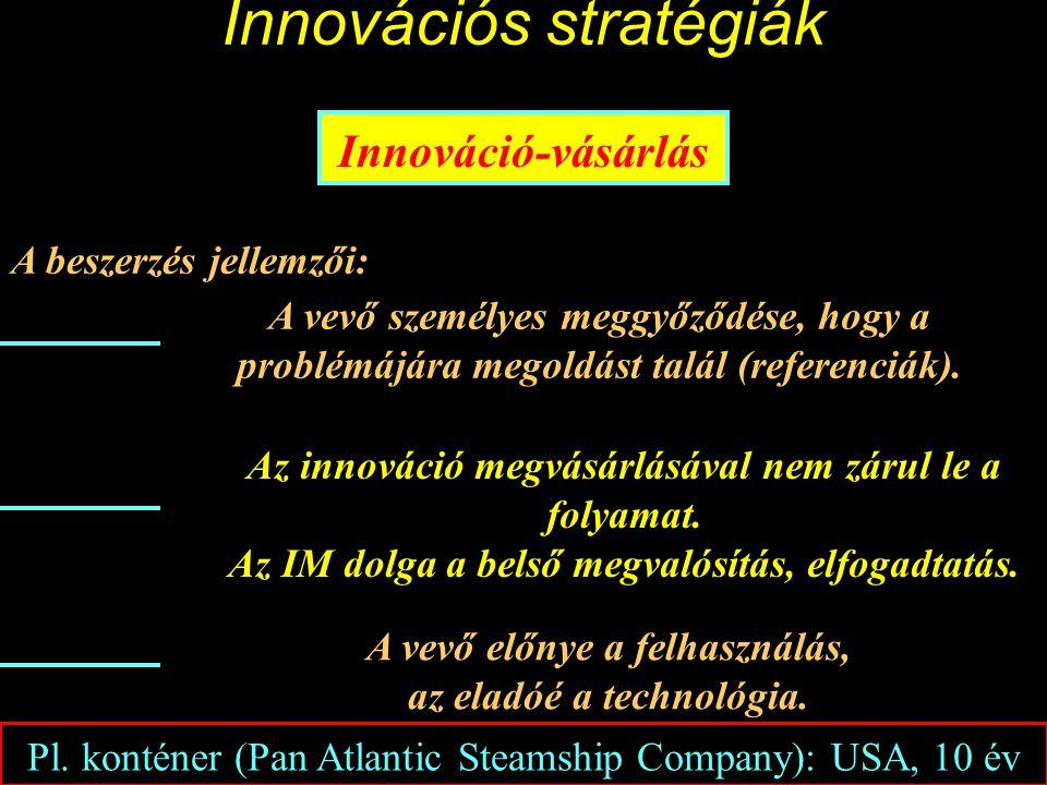Innovációs stratégiák Innováció-vásárlás A beszerzés jellemzői: A vevő személyes meggyőződése, hogy a problémájára megoldást talál (referenciák).